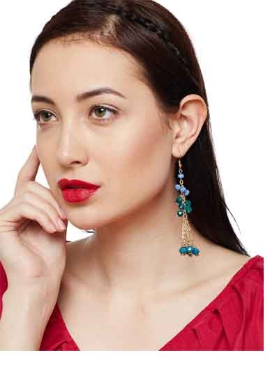 Turquoise Stone Floral Hanging Western Earrings