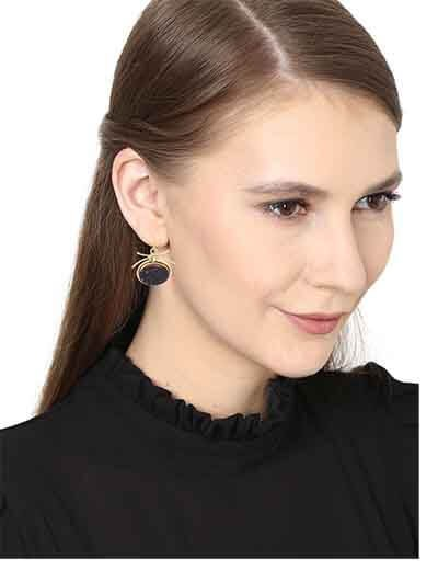 Circular Black Druzy Party Wear Earrings