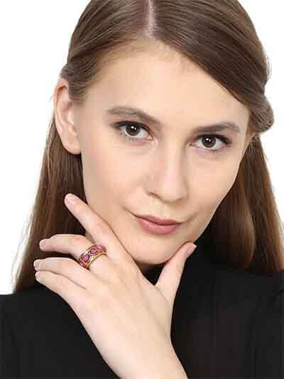 Chunky Beaded Ruby Handmade Jewellery Ring