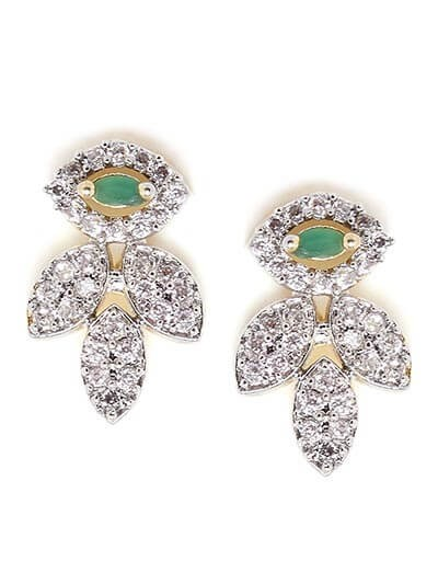 American Diamond Leaf Earrings with Green Stone