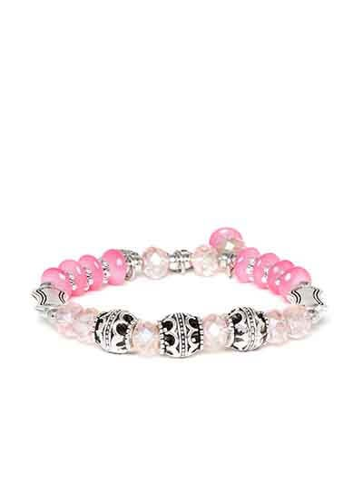 Pink and Silver Butterfly Charm Bracelet