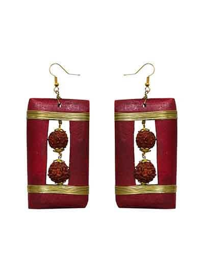 Rudraksha Box Handmade Jewellery Earrings