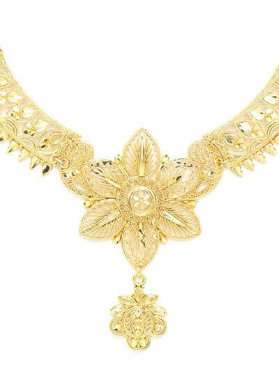 Golden Flower Necklace Set with Earrings