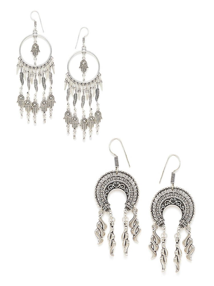 Oxidized Dream-catcher Earrings and Twisted Oxidized Danglers Combo