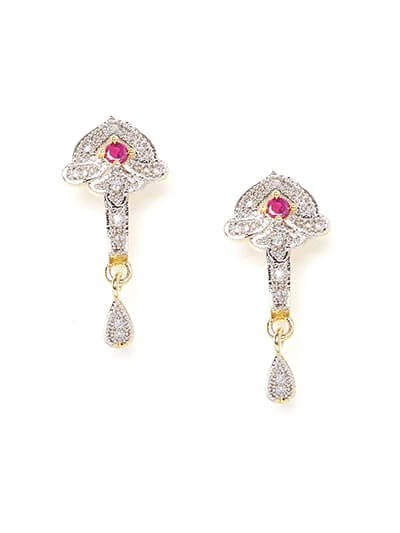 American Diamond Daywear Dangle Earrings with Red Stone