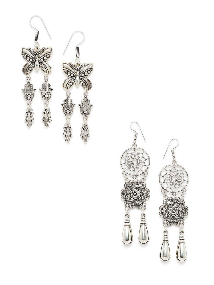 Combo of Dream-catcher and Butterfly Silver Oxidized Earrings