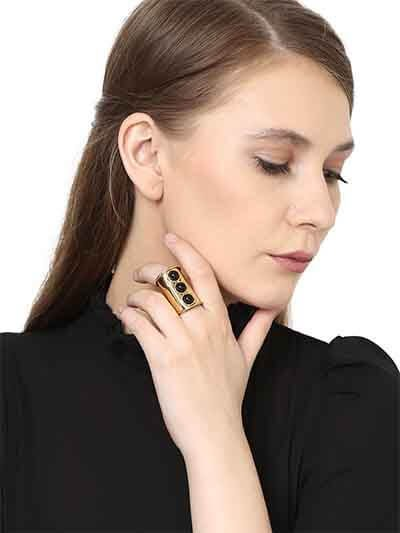 Designer Black Onyx Brass Ring For Women