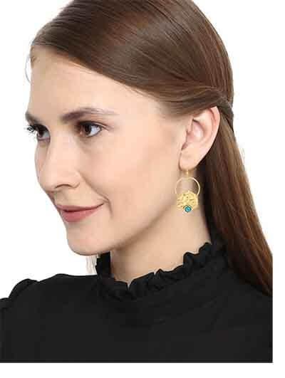 Ethnic Gold Colored Turquoise Handmade Jewellery Earrings