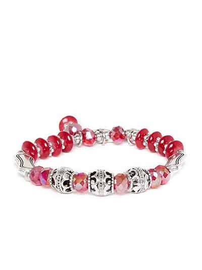 Red and Silver Heart Charm Bracelet