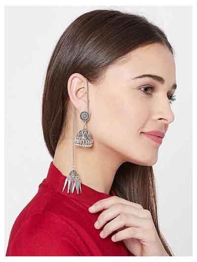 Oxidized Silver Kashmiri Jhumka Earrings For Women