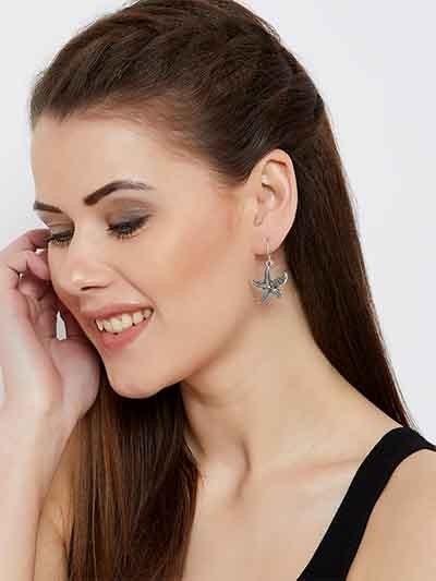 Oxidized Silver star Fish Earrings