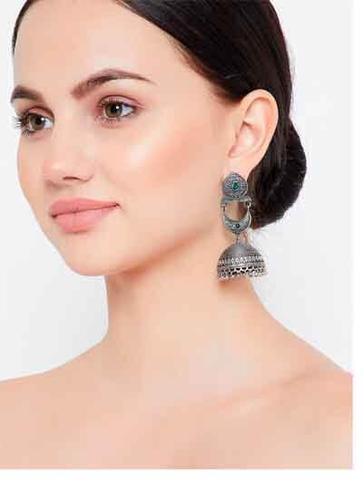 Silver Plated Tribal Jhumkas For Earrings & Girls