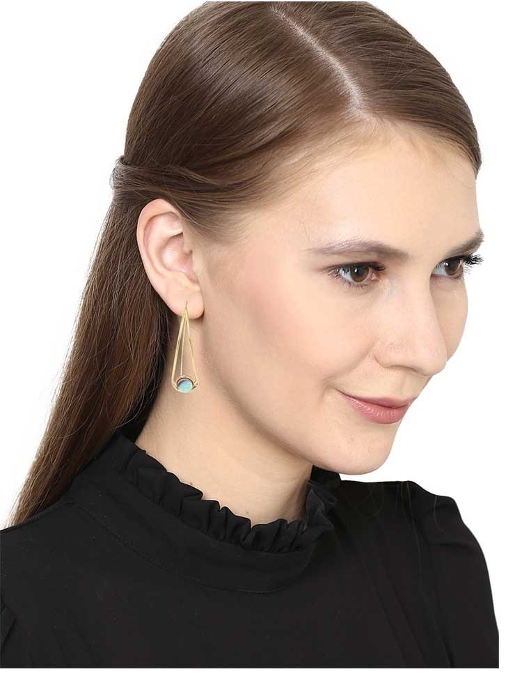 Abalone Droplet Brass Earrings