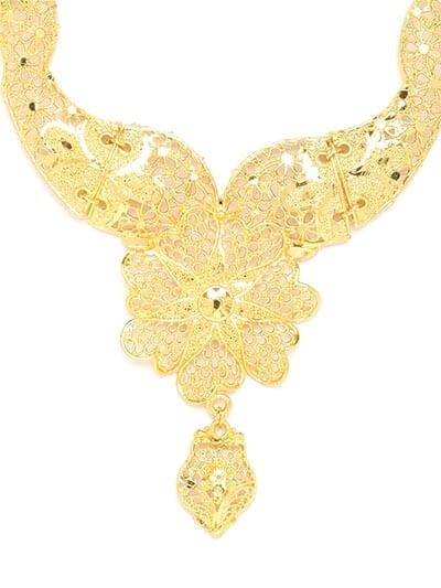 Golden Flower Necklace Set For Women