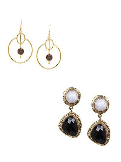 Combo of Black Druzy Hoop and Black Onyx Dangler Earrings