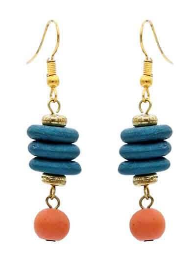 Colorful Wooden Beads Handmade Jewellery Earrings