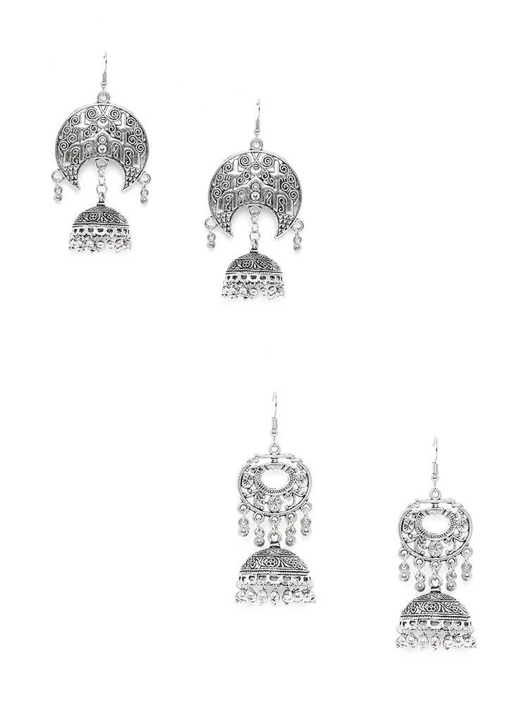 Combo of Embellished Oxidized Jhumkas