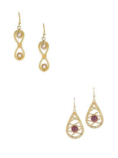 Combo of Pearl Brass Earrings and Amethyst Brass Earrings