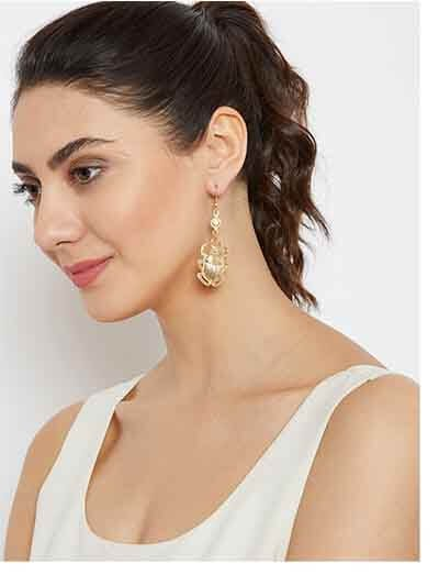 Golden Beetle Artificial Earrings