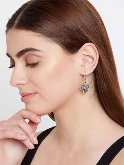 Short Oxidized Silver Flower Earrings