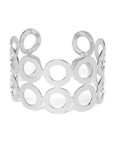 Silver Cuff Bracelet with Circular Pattern