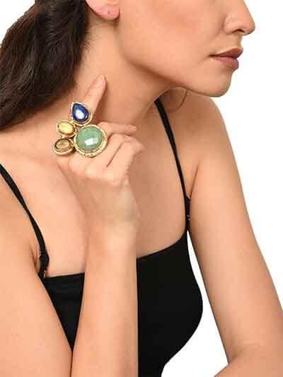 Emerald Smoky Lapiz Trio Throne Handmade Jewellery Ring