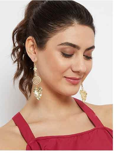 Leaf Artificial Earrings in Gold Color