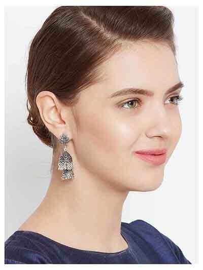 Oxidized Silver Leaf Jhumka Earrings