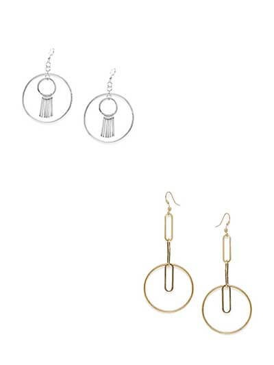 Combo of Short Golden Hoops and Long Silver Hoops Earrings
