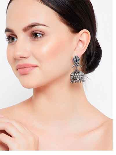 Classic Peacock Vintage Styled Tribal Jewellery Silver Plated Jhumkis with Blue Stone