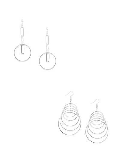 Combo of Silver Dangler Earrings and Silver Hoops Earrings