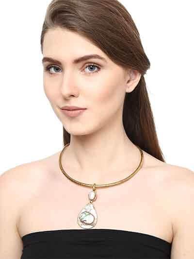 Pristine Pearl Brass Choker Fashion Necklace