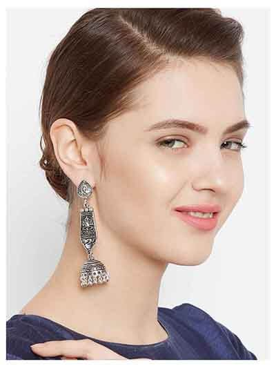 Long Oxidized Silver Ganesha Jhumka Earrings