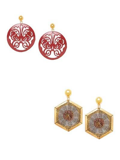 Combo of Red Metal Earrings and Golden Mesh Earrings