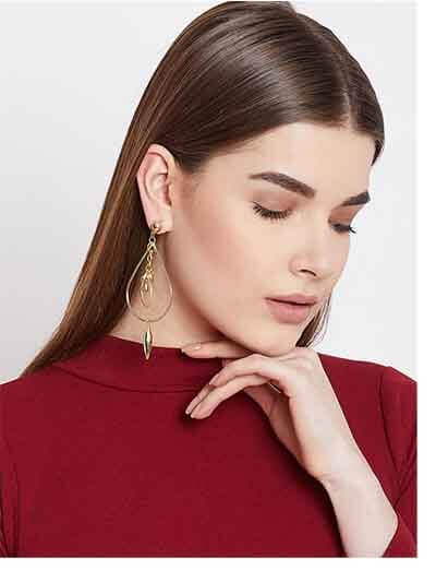 Long Drop Earrings in Gold Color