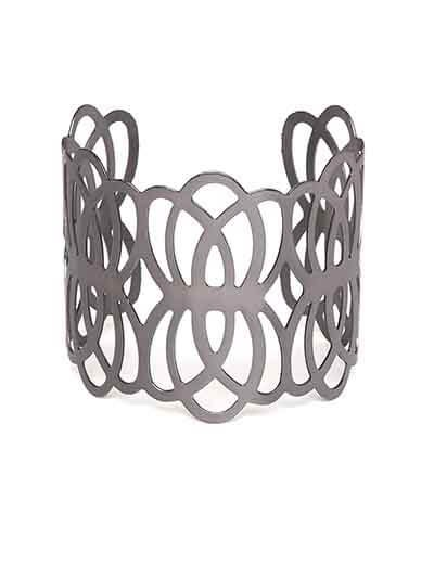 Metallic Grey Cuff Bracelet For Women