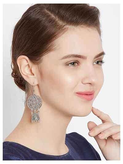 Oxidized Silver Dream catcher Jhumka Earrings