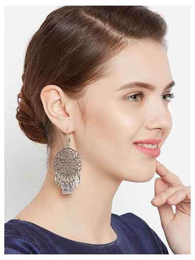 Chunky Oxidized Silver Dream catcher Jhumka Earrings