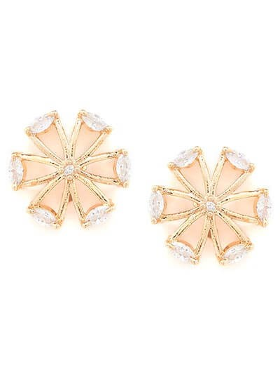 American Diamond Big Floral Stud Earrings