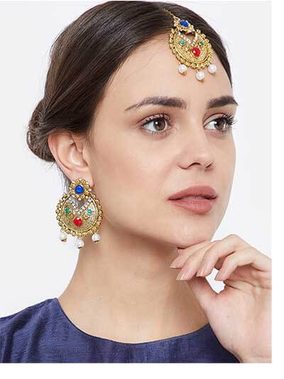 Multicolored Stones Embellished and Hanging White Pearls Golden Earrings and Maang Tika Jewellery Set for Wedding