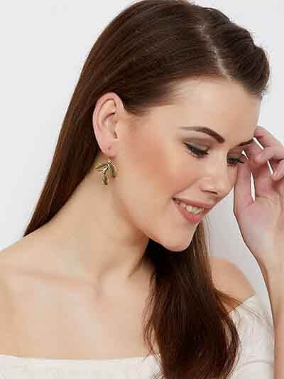 Short Golden Leaf Earrings