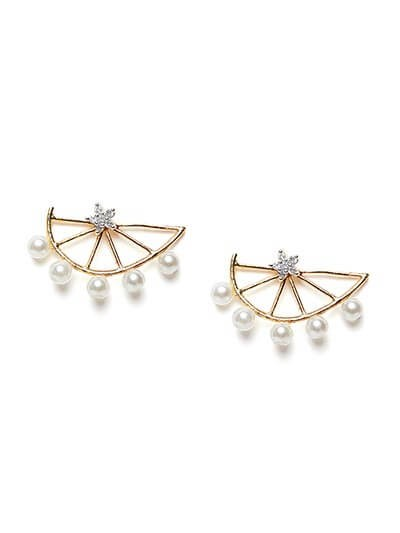American Diamond Golden Stud Earrings with White Pearls
