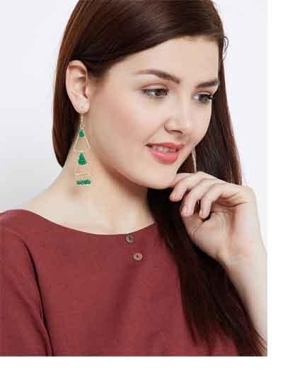 Layered Triangular Green Beads Classic Golden Western Earrings