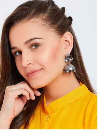 Love Brass Based Oxidized Silver Earrings With Floral Embellishments