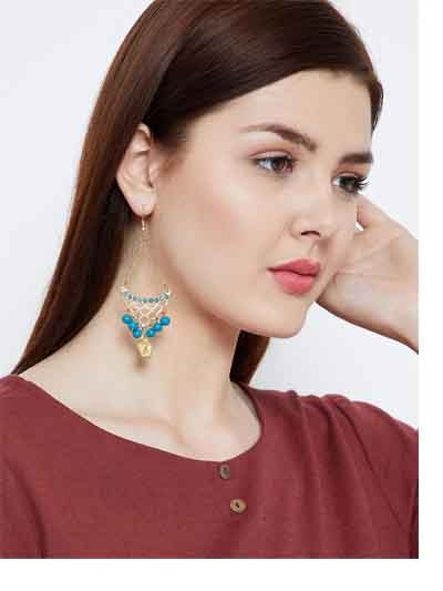 Turquoise Circular Hangings and Golden Flower Western Earrings