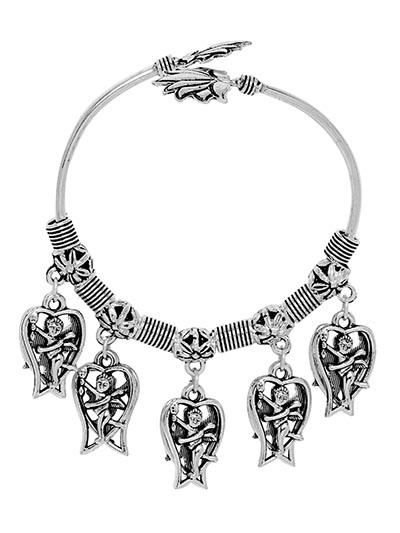 Adjustable Oxidized Silver Bracelet With Cute Cupid Charms