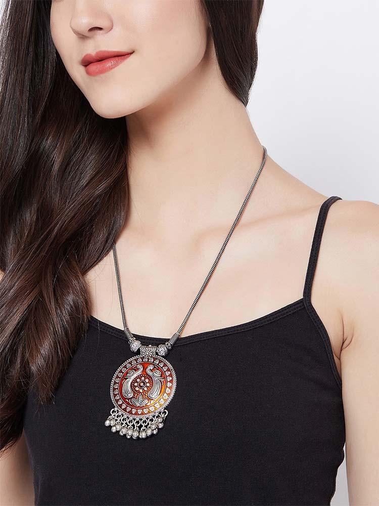 Beautiful Orange Peacock Motifs Oxidized Tribal Jewellery Statement Necklace