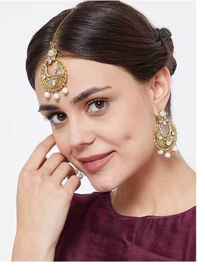 Elegant Kundan motif with Hanging Pearl Chandbali Earrings and Maang Tika Jewellery Set for Wedding