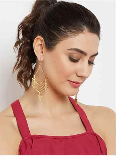 Arrow Artificial Earrings in Golden Color