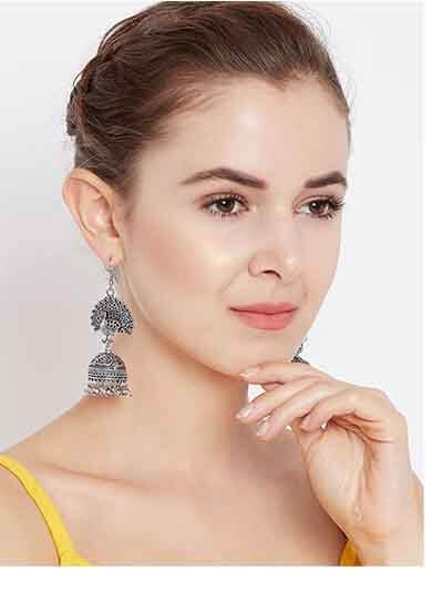 Classic Peacock Embellished Tribal Jewellery Jhumki Earrings